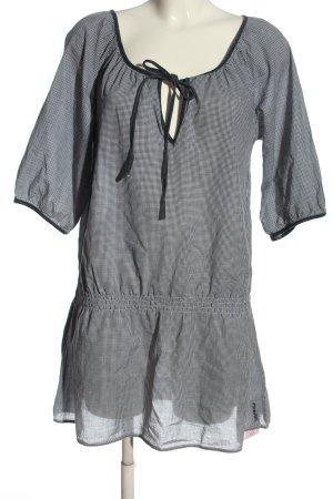Esprit Tunikabluse schwarz-weiß Karomuster Casual-Look