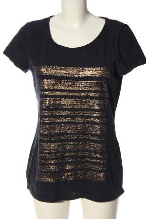 Esprit U-Boot-Shirt schwarz-goldfarben Streifenmuster Casual-Look