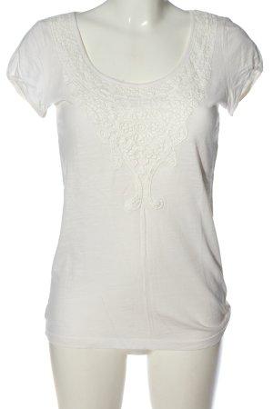 Esprit Koszulka z dekoltem w łódkę biały W stylu casual