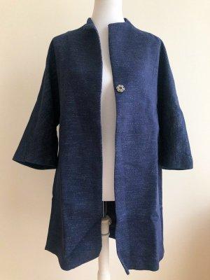 Esprit Oversized jas blauw-donkerblauw Katoen