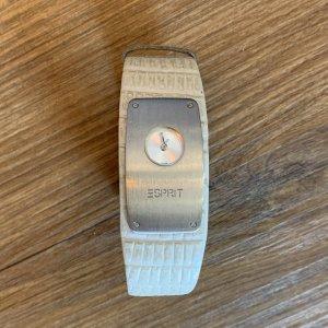 Esprit Zegarek ze skórzanym paskiem srebrny-biały Metal