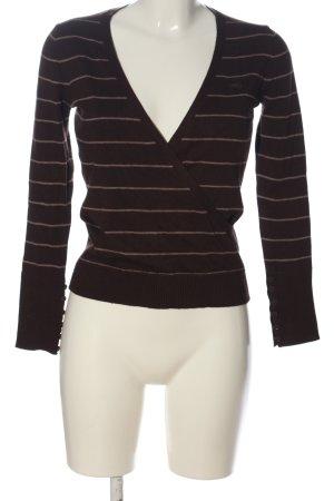 Esprit V-Ausschnitt-Pullover braun-creme Streifenmuster Casual-Look