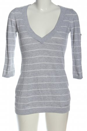 Esprit V-Ausschnitt-Pullover hellgrau-weiß meliert Casual-Look