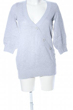 Esprit V-Ausschnitt-Pullover hellgrau Webmuster Casual-Look