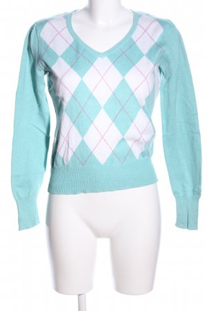 Esprit V-Neck Sweater turquoise-white check pattern casual look