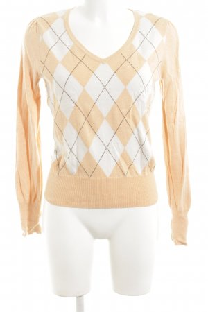 Esprit V-Ausschnitt-Pullover nude grafisches Muster Casual-Look