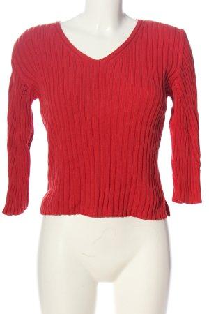 Esprit V-Ausschnitt-Pullover rot Zopfmuster Casual-Look