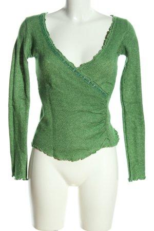 Esprit V-Ausschnitt-Pullover grün meliert Casual-Look