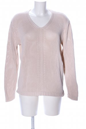 Esprit V-Ausschnitt-Pullover nude Zopfmuster Casual-Look