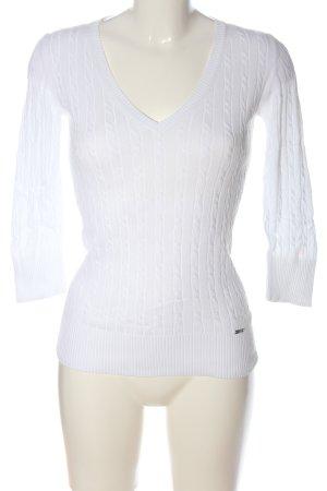 Esprit Jersey con cuello de pico blanco punto trenzado look casual