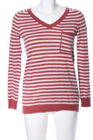 Esprit V-Ausschnitt-Pullover weiß-rot Allover-Druck Casual-Look