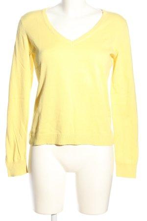 Esprit V-Ausschnitt-Pullover blassgelb Casual-Look