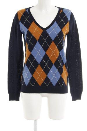 Esprit V-Ausschnitt-Pullover Karomuster extravaganter Stil