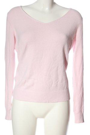 Esprit V-Ausschnitt-Pullover pink Zopfmuster Casual-Look