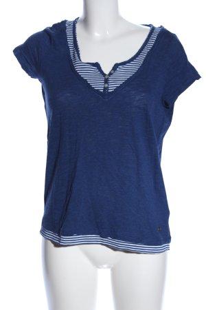 Esprit Maglia con scollo a V blu motivo a righe stile casual