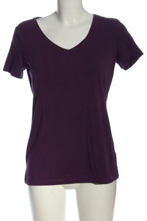 Esprit V-Ausschnitt-Shirt lila Casual-Look