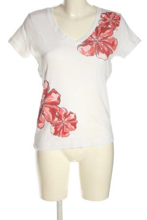 Esprit V-Ausschnitt-Shirt Blumenmuster Casual-Look