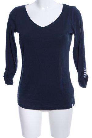 Esprit V-Ausschnitt-Shirt blau Streifenmuster Casual-Look