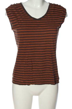 Esprit V-Ausschnitt-Shirt braun-schwarz Streifenmuster Casual-Look
