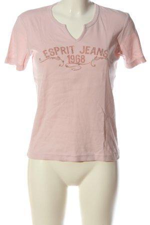 Esprit V-Ausschnitt-Shirt pink Schriftzug gedruckt Casual-Look