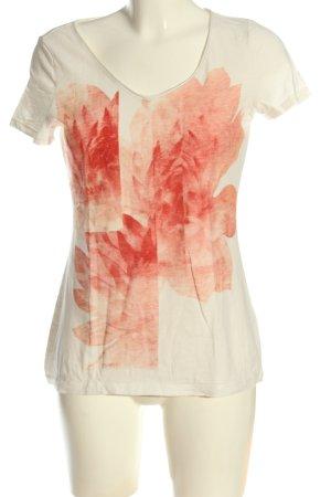 Esprit V-Ausschnitt-Shirt creme-pink Blumenmuster Casual-Look