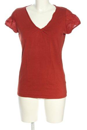 Esprit V-Ausschnitt-Shirt hellorange Casual-Look