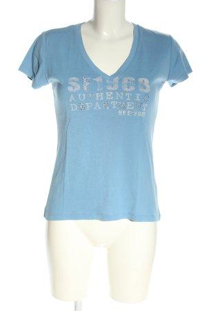 Esprit Koszulka z dekoltem w kształcie litery V niebieski-biały W stylu casual