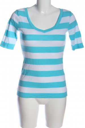 Esprit V-Ausschnitt-Shirt türkis-weiß Streifenmuster Casual-Look