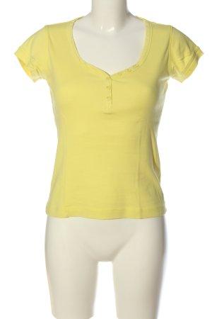 Esprit V-Ausschnitt-Shirt blassgelb Zopfmuster Casual-Look