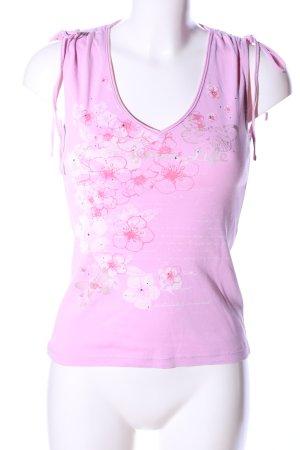 Esprit V-Ausschnitt-Shirt pink-weiß Blumenmuster Casual-Look