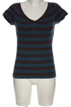 Esprit V-Ausschnitt-Shirt blau-braun Streifenmuster Casual-Look