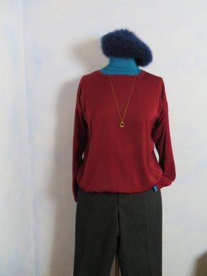 Esprit Vintage Burgundy Rot Viskose Pullover _ Größe M - Rundhals Oversize Seidig Feinstrick Pulli