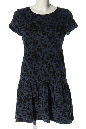 Esprit Volantkleid blau-schwarz Allover-Druck Casual-Look