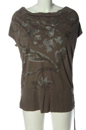 Esprit Koszulka z dekoltem woda brązowy-jasnoszary Abstrakcyjny wzór
