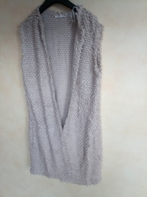 Esprit Cardigan lungo smanicato beige chiaro Cotone