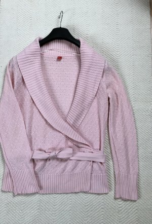 Esprit Knitted Wrap Cardigan light pink cotton