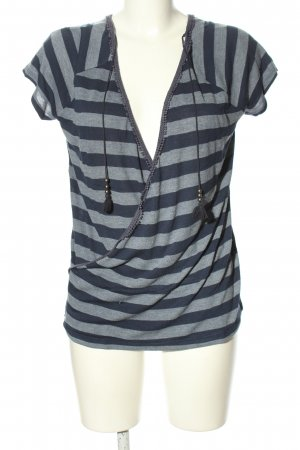 Esprit Wraparound Shirt light grey-blue striped pattern casual look