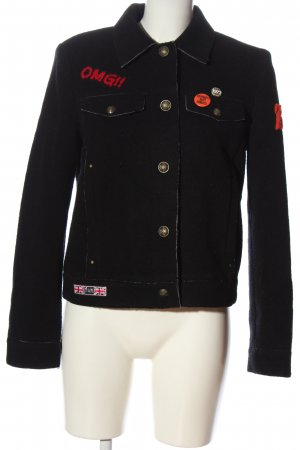 Esprit Wolljacke schwarz-rot Schriftzug gestickt Casual-Look