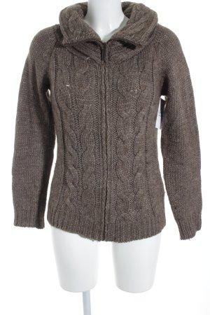 Esprit Veste en laine gris brun torsades style décontracté