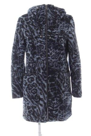 Esprit Wollmantel blau-schwarz Animalmuster Casual-Look
