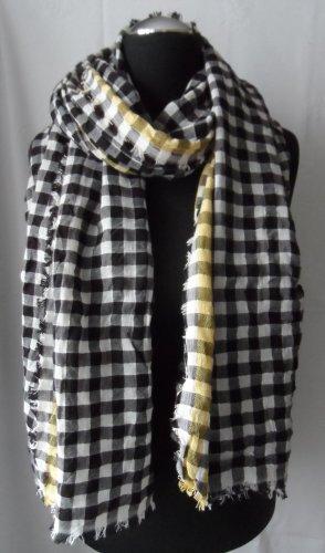 Esprit XXL Schal Schwarz Weiß Gelb Kariert nur wenig getragen