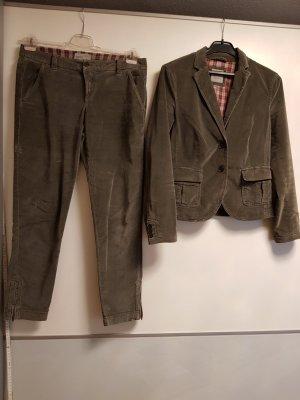 Esprit Zweiteiler/ Hose + Blazer Set Velour khaki Gr M/38