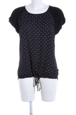 Essentials Kurzarm-Bluse schwarz-weiß Punktemuster Casual-Look