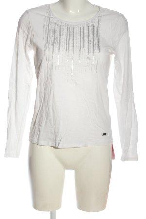 Essentials Longsleeve weiß-silberfarben Streifenmuster Casual-Look