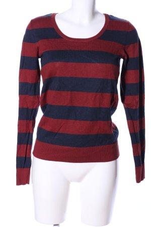 Essentials Rundhalspullover rot-blau Streifenmuster Casual-Look