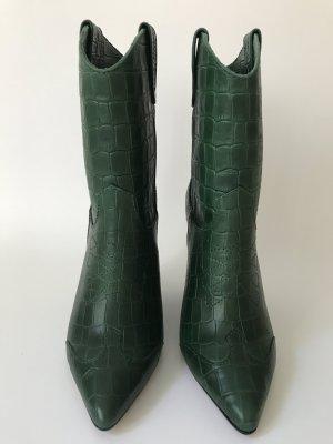 Essentiel Antwerp grüne Stiefeletten, Krokoprägung, Cowboy-Stil Gr. 36 NEU!