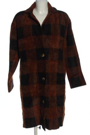 Essentiel Antwerp Cappotto in eco pelliccia marrone-blu motivo a quadri