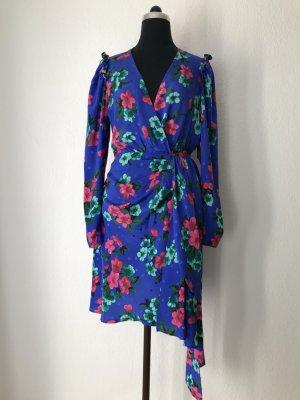 Essentiel Antwerp Seidenkleid mit Blumenprint kobaltblau mit pink 36