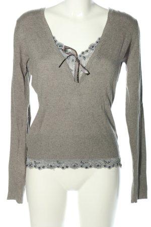 Essentiel Antwerp Pull tricoté gris clair moucheté style décontracté