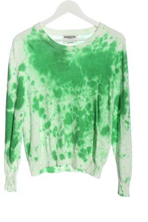 Essentiel Antwerp Pull en maille fine vert-blanc motif abstrait